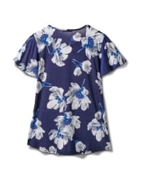 Criss Cross Neck Floral Knit Top - Navy - Back