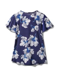 Criss Cross Neck Floral Knit Top - Misses - Navy - Back