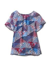 Patchwork Peasant Woven Blouse - Navy - Back