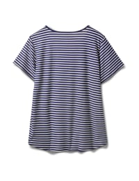 Screen Print Stripe Rib Tee - Plus - Navy - Back
