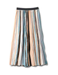 Stripe Pleated Skirt With Contrast Elastic Waistband - Multi - Back