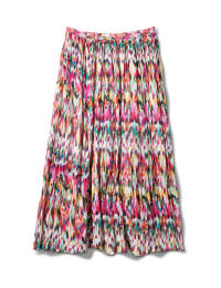 Long Crinkle Pleated Skirt - Multi - Back