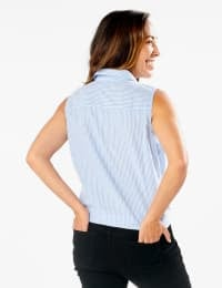 Sleevless Embroidered Stripe Shirt - Misses - Blue - Back