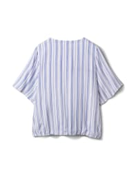 Stripe Wrap Hi-Lo Top - Blue/White - Back