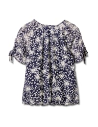 Small Floral Bubble Hem Top - Navy - Back