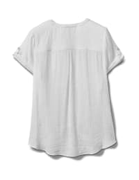 Pintuck Texture Button Front Shirt - White - Back