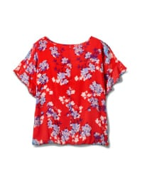 Floral Cold Shoulder Bubble Hem Top - Red - Back