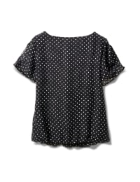 Dot Bubble Hem Woven Top with 3 Ring Neckline - Black/White - Back