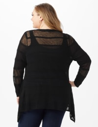 Button Front Sharkbite Cardigan - Plus - Black - Back