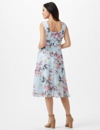 Aqua Floral Emma Style Sleeveless Chiffon Dress - Aqua - Back