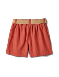 High Rise A Line Shorts With Belt - Papaya - Back