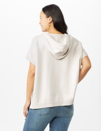 Hoodie Sweater Poncho - Grey - Back