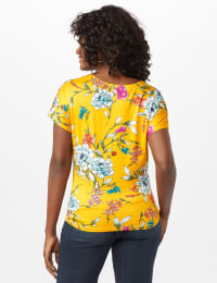 Floral Knot Front Knit Top - Mustard - Back