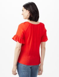 Smocked Crinkle Peasant Top - Petite - Coral - Back