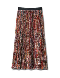 Printed Pleated Skirt With Contrast Elastic Waistband - Animal - Back