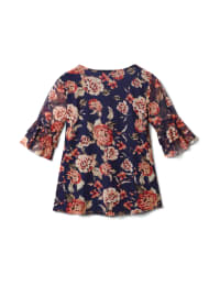 Floral Mesh Ruffle Sleeve Knit Top - Navy - Back