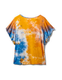 Tie Dye Tie Front Knit Top - Orange - Back
