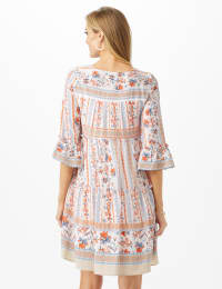 Mixed Pattern Baby Doll Dress with 3/4 Sleeves - Ivory/Coral/Denim - Back