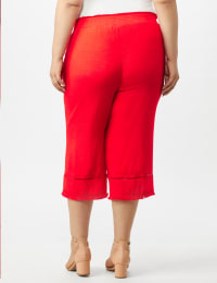 Pull on Wide Leg Crop Pants with Fringe Trim - Coralicious - Back