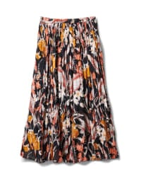 Long Crinkle Skirt - Black Multi - Back