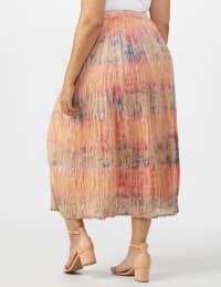 Pull On Crinkle Skirt - Plus - Indigo/ Coral - Back