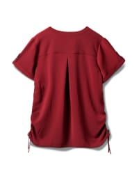 2 Pocket Side Tie  Woven Top - Mood Burgundy - Back