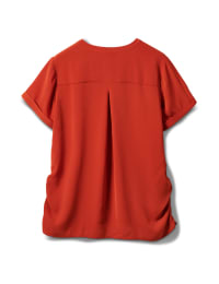 2 Pocket Side Tie  Woven Top - Rust - Back