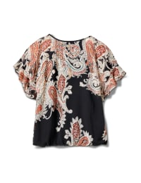 Roz & Ali Paisley Paisley Colder Shoulder Blouse - Black - Back