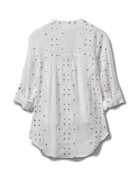 Westport Embroidered Button Front Shirt - Misses - White - Back