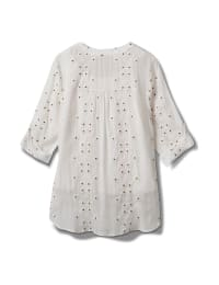 Westport Embroidered Button Front Shirt - White - Back