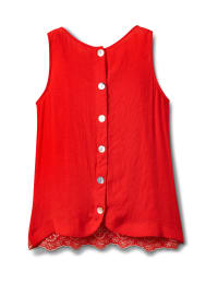 Westport Embroidered Blouse - Red/Blue - Back