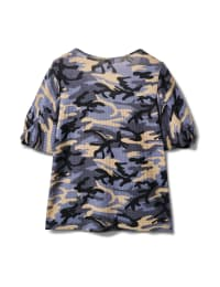 Camo Twist Sleeve Thermal Knit Top - Demim - Back