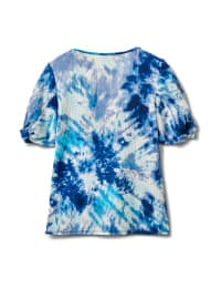 Tie Dye Twist Sleeve Thermal Knit Top - Blue - Back