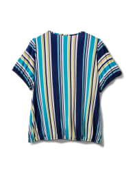 Stripe Square Neck Knit Top - Turq - Back
