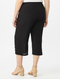 Pull on Wide Leg Crop Pants with Button Hem Detail - Black - Back