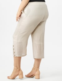 Pull on Wide Leg Crop Pants with Button Hem Detail - Lt Stone - Back