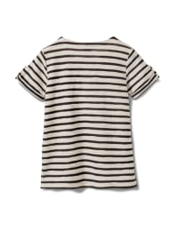 Lace Up Stripe Knit Top - Misses - Black/White - Back