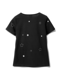 Embroidered Star Knit Tee - Misses - Black - Back