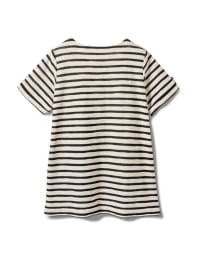 Lace Up Stripe Knit Top - Black/White - Back