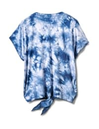 """Dream"" Tie Dye Tie Front Top - Plus - Blue - Back"