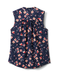 Sleevless Ditzy Pintuck Popover - Navy/Coral - Back