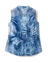 Lace Inset Palm Print Pintuck Popover - Denim - Back