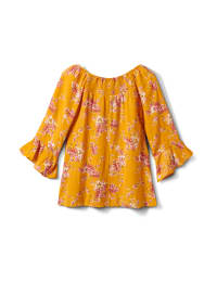 Floral Smock Neck Peasant Top - Gold/Red - Back
