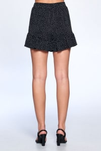 Dot Print Flutter Hem Shorts - Black - Back