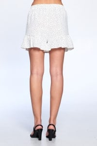 Dot Print Flutter Hem Shorts - Off White - Back