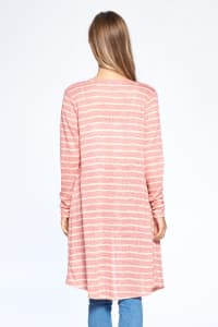 Loose Fit Striped Cardigan - Coral Combo - Back