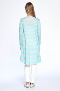 Loose Fit Striped Cardigan - Mint Combo - Back