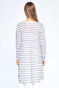 Loose Fit Striped Cardigan - Off White / Navy - Back