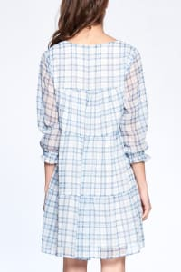 Light Plaid Night Dress - Blue Plaid - Back