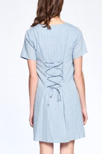 Drawstring Back Night Dress - Dusty Blue - Back